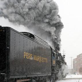 Pere Marquette by Nicole Baumchen - Transportation Trains ( winter, locomotive, snow, train, smoke, steam )