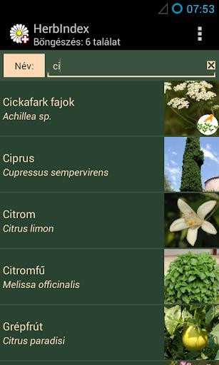 HerbIndex - gyógynövénykalauz