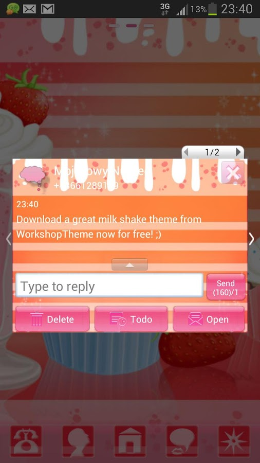 GO SMS Pro Theme Muffin Shake- screenshot