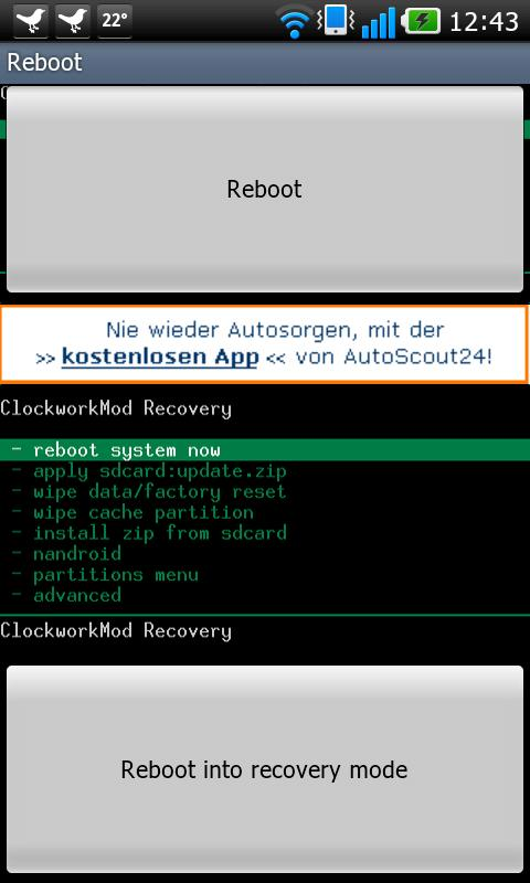 Optimus 2X recovery reboot - screenshot