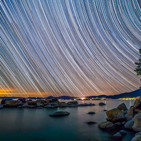 Lake Tahoe Star Trails by Cory Marshall - Landscapes Starscapes