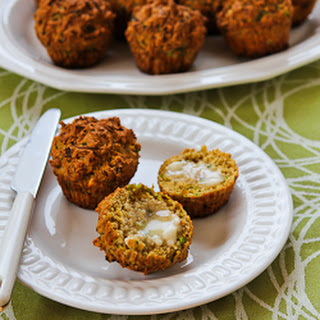 Savory Whole Wheat Zucchini Muffins with Feta, Parmesan, and Green Onions.