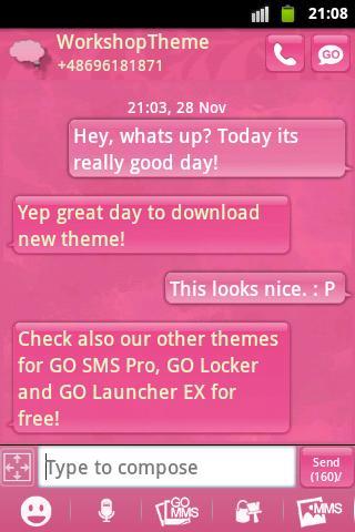 短信主題粉紅可愛甜美 GO SMS Theme Pink