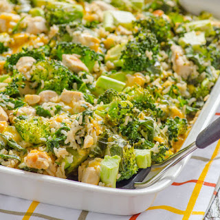 Skinny Chicken, Broccoli and Rice Casserole with Kale.