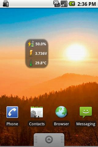 BatStat Battery Widget - screenshot