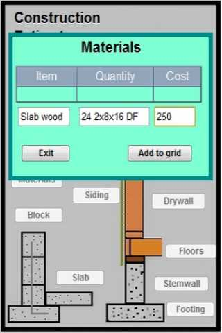 Construction Estimator  phone - screenshot