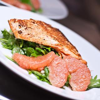 Mizuna Sunchoke Salad with Shiitake Salmon