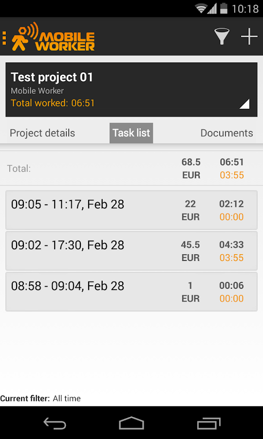 Time tracker - Mobile Worker - screenshot