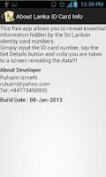 Screenshot of Lanka ID Card Info