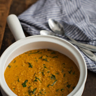 Quick Red Lentil Curry with Spinach