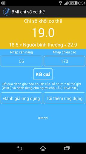 Tính chỉ số cơ thể BMI VietNam