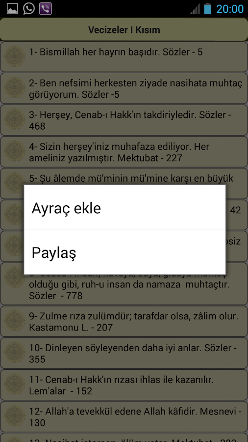 Risale-i Nurdan Vecizeler - screenshot