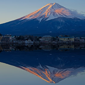 Mount Fuji at Sunrise by Paul Atkinson - Landscapes Mountains & Hills ( reflection, mountain, japan, volcano, mount, snow, yamanashi, fuji, lake, kawaguchiko )