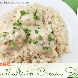 Baked Turkey Meatballs in Cream Sauce.