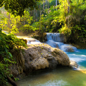 Kouangxi Water Fall, Laos PDR by Kitty Bern - Landscapes Waterscapes