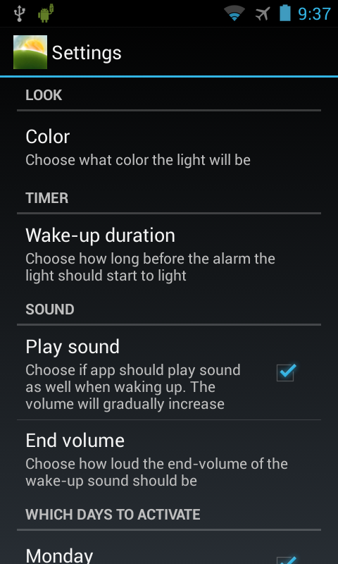 Wake-up Light- screenshot
