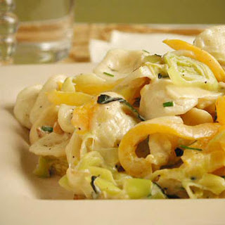 Pasta with Leek, Pepper, and Chive Sauce.