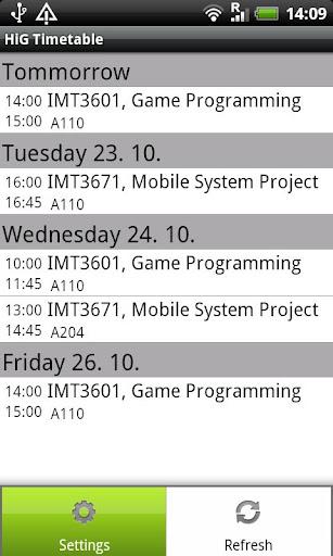HiG Timetables