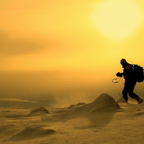 The Photographer by Costin Mugurel - People Professional People ( winter, mountain, sunset, snow, landscape )