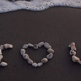 I Love You by Susan Fries - Artistic Objects Signs ( love, coral, wave, beach, stones, , improving mood, moods, red, the mood factory, inspirational, passion, passionate, enthusiasm )