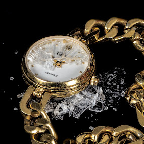 Time has stopped by Vibeke Friis - Artistic Objects Clothing & Accessories ( broken, shards, watch, glass, gold, wrist watch,  )