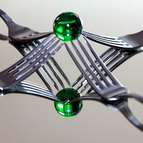 the green mistery by José M G Pereira - Artistic Objects Cups, Plates & Utensils ( mirror, forks, marble, green, square )