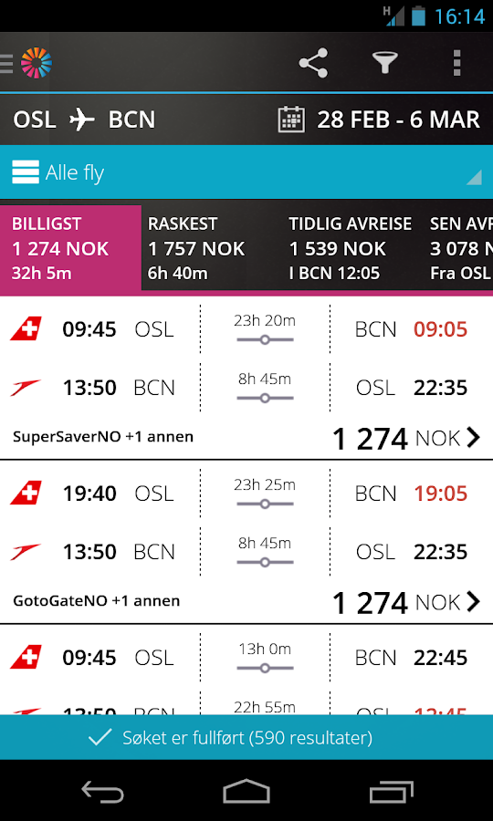 momondo Billige Fly og Hotell - screenshot