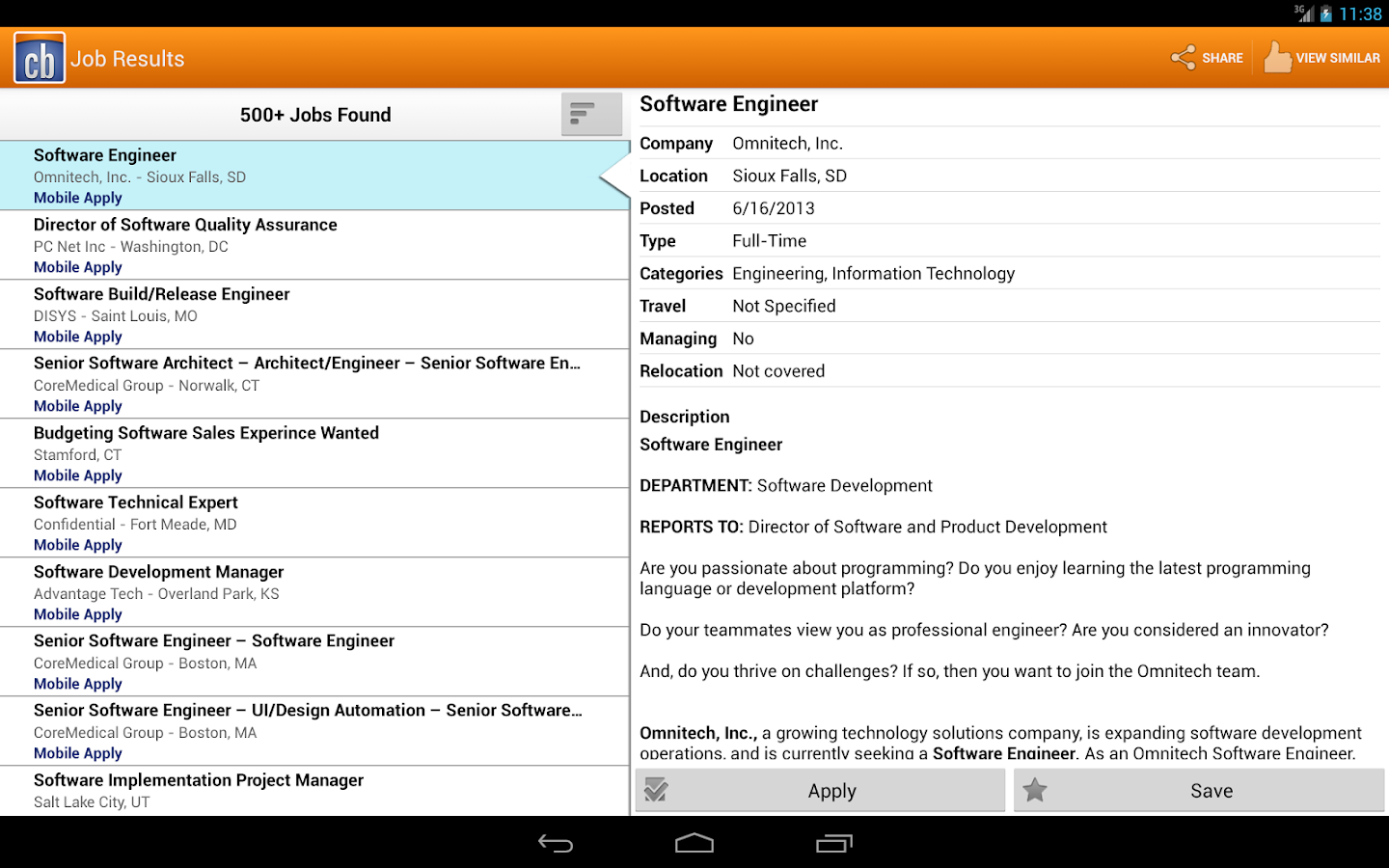 Jobs - screenshot