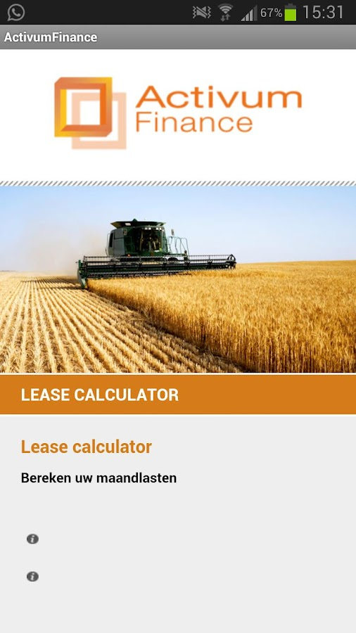 Equipment lease calculator - screenshot