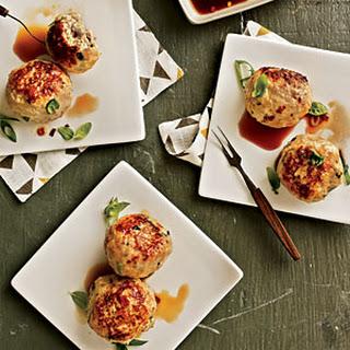 Basil Chicken Meatballs with Ponzu Sauce.
