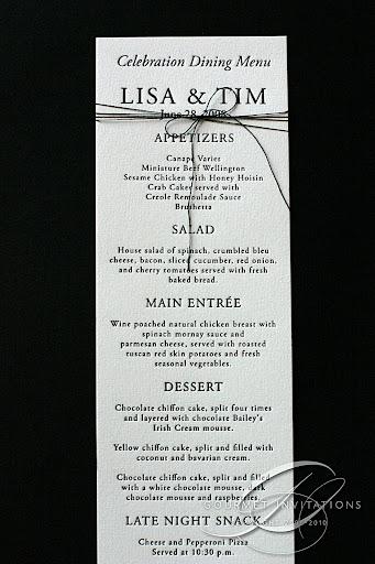 Lisa S Black Tie Wedding Gourmet Invitations