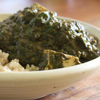 "Crock Pot Saag ""Paneer"" (Tofu)."