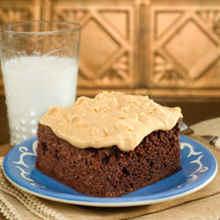 Chocolate Squares With Fluffy Peanut Butter Frosting.