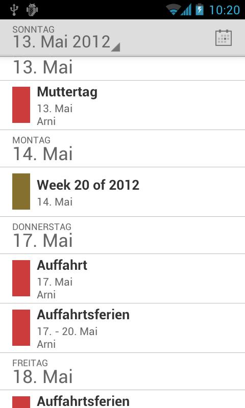 Holidaycalendar.ch- screenshot