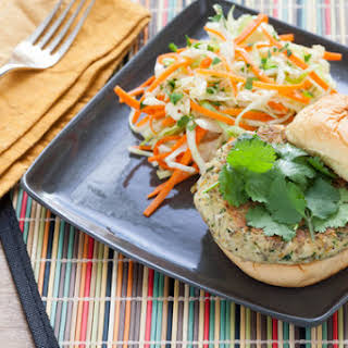 Homemade Veggie Burgers with Miso Cabbage & Carrot Slaw.