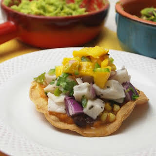 Ceviche Tacos with Black Bean and Corn Salsa.