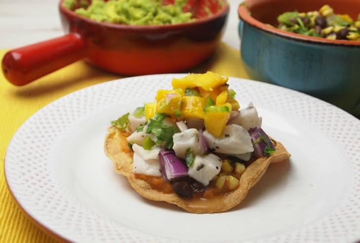 Ceviche Tacos with Black Bean and Corn Salsa Recipe