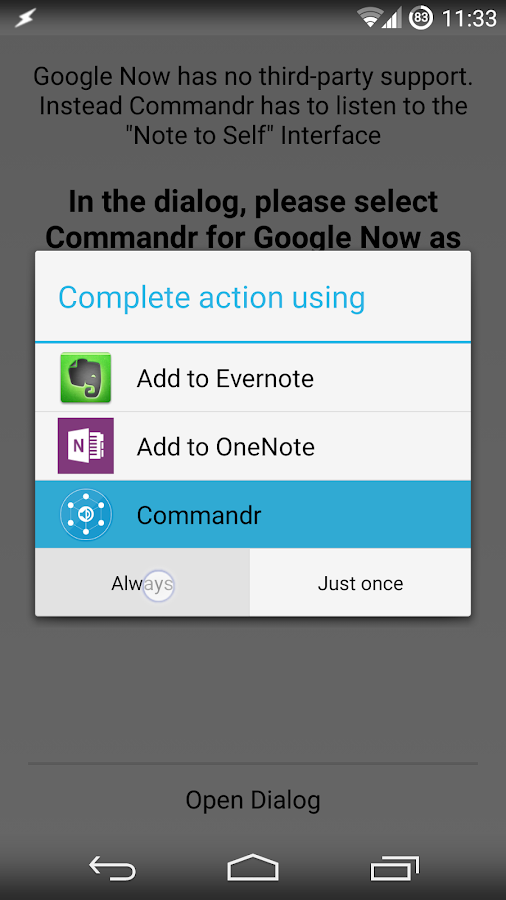 Commandr for Google Now - screenshot