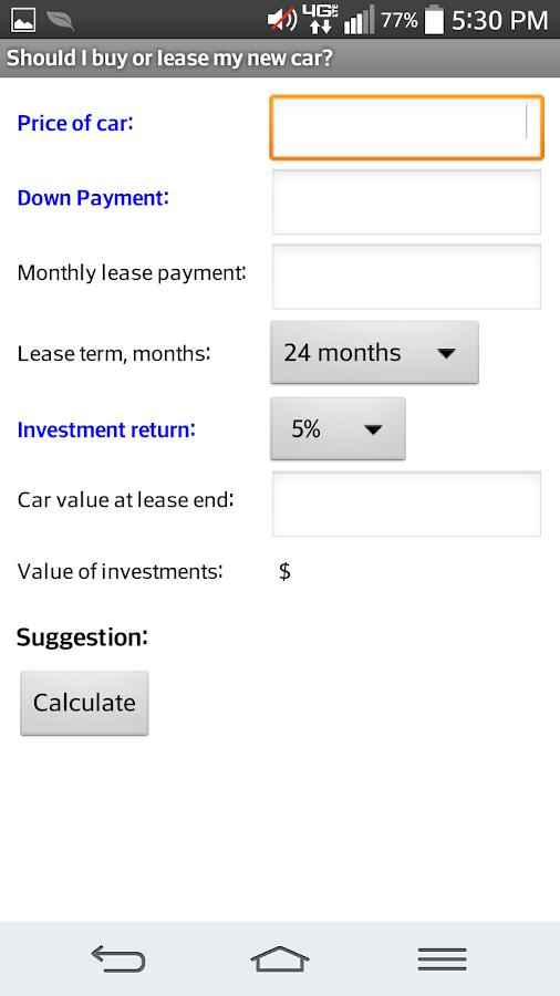 lease or buy car calculator