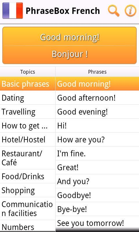 Phrasebook French- screenshot