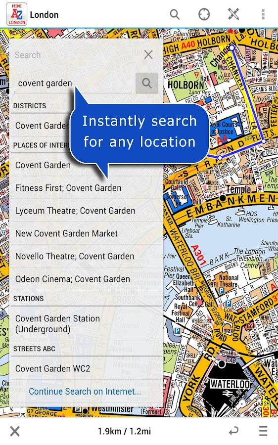 London Visitors A-Z Map - screenshot