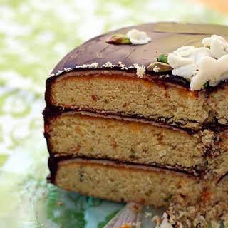 Pistachio Marzipan Petit-Four Cake.