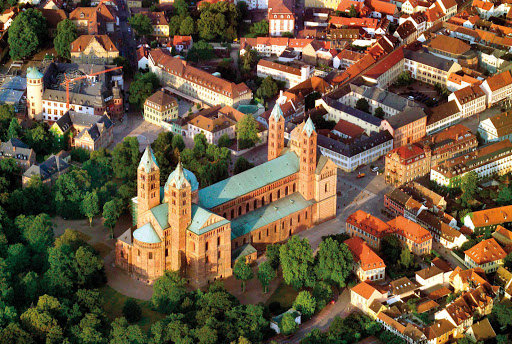 Germany-Speyer-cathedral - An aerial view of Speyer Cathedral in Speyer, Germany.