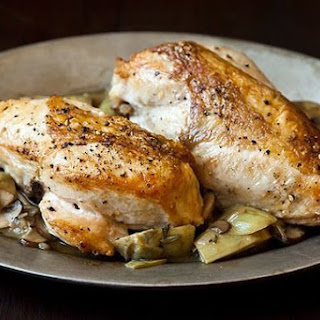Roast Chicken Breasts with Mushrooms and Artichokes Recipe