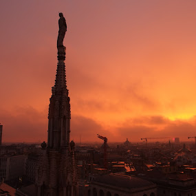 Above (Milano, Italy) by Pipia Kanjeva - Buildings & Architecture Statues & Monuments ( #milano #italy #duomo #sunset #evening #panorama, , golden hour, sunset, sunrise )