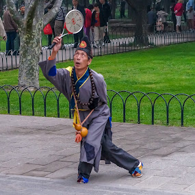 Man in Temple of Heaven Park Beijing by Lee Davenport - People Street & Candids