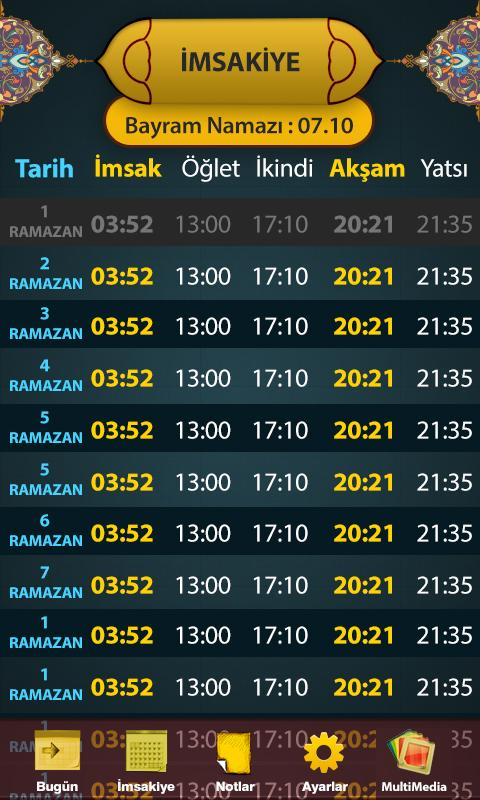 İmsakiye 2016- screenshot
