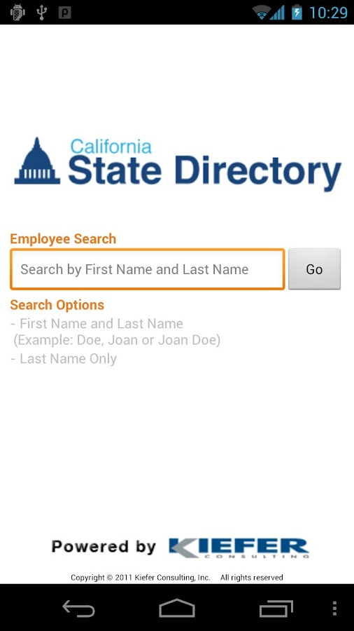CA State Directory- screenshot