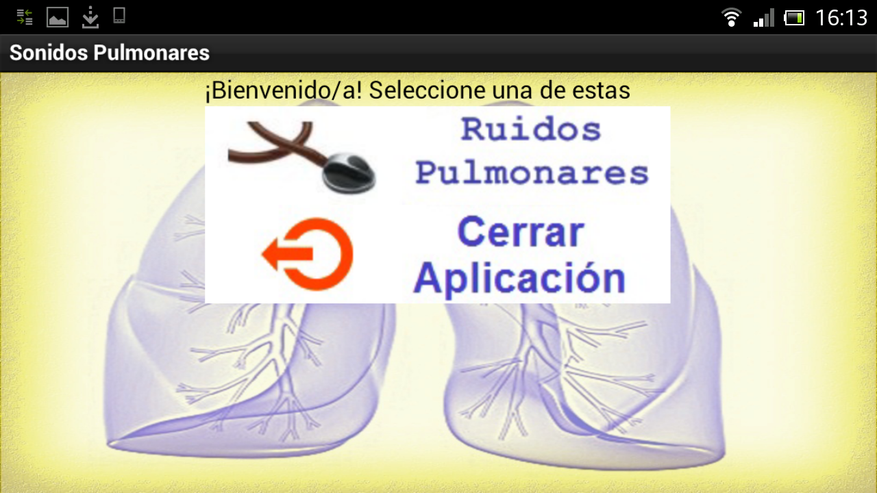 Sonidos Pulmonares: captura de pantalla