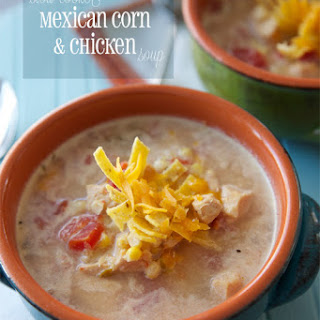 Slow Cooker Mexican Corn & Chicken Soup.